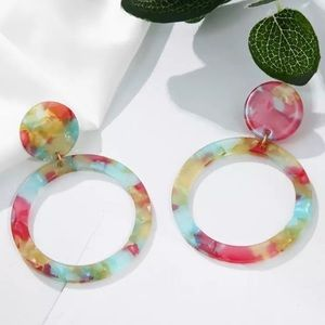 Multiple Colors Circle Shaped Fashion Earrings